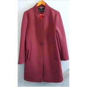 Nanette Lepore Scuba Coat Notched Collar Berry